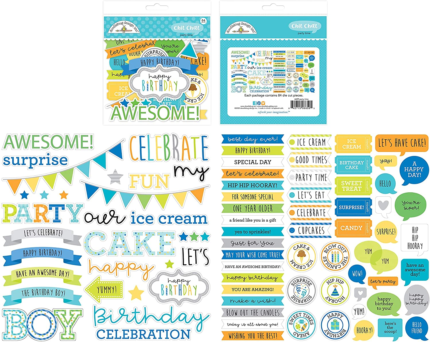 DOODLEBUG DESIGN INC. 6659 Party TIME DIECUTS CHIT Chat