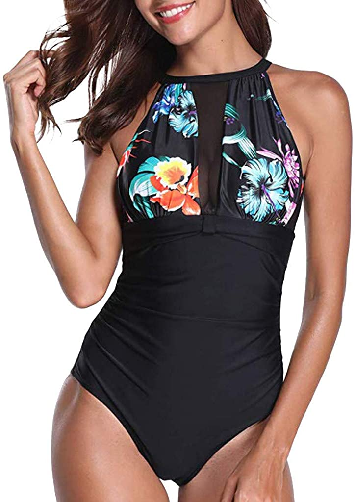 Adeliber Women One Piece Swimsuit High Neck Mesh Ruched Floral Printed Swimsuit