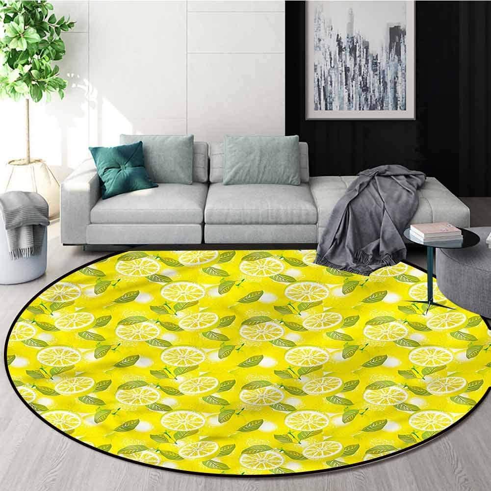 RUGSMAT Spring Modern Flannel Microfiber Round Area Rug,Fresh Lemons with Leaves Perfect for Any Room, Floor Carpet Diameter-63