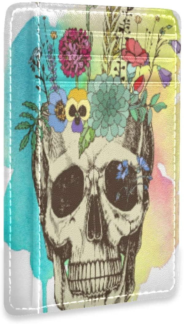 Flower Vase Made in Skull Fantastic Womens Mens RFID Credit Card Holders Wallet Leather Case Organizer