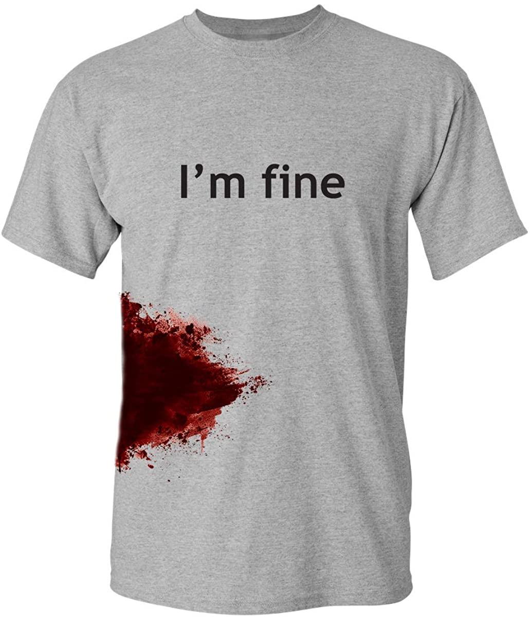I'm Fine Graphic Novelty Sarcastic Movie Slash Humor Zombie Funny T Shirt