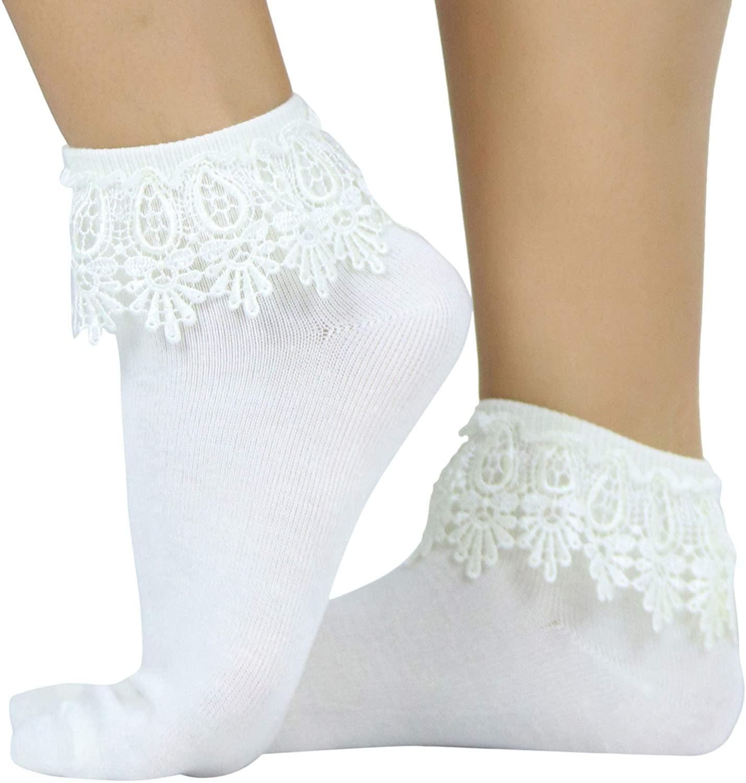 ToBeInStyle Women's Stylish Snowflake Lace Socks