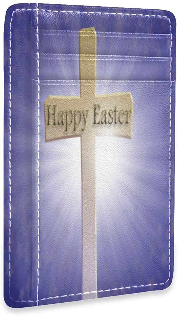 Happy Easter Cross Slim Rfid Credit Card Holder Case Leather Cardholder Wallet Men Women