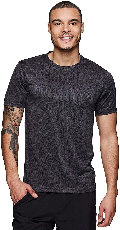 RBX Active Men's Heathered Quick Dry Gym Workout Athletic Training Crewneck Short Sleeve T-Shirt Black L
