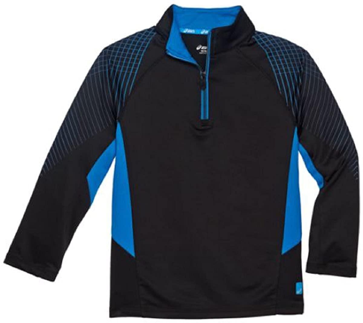 ASICS Boys Youth 1/4 Zip Top, Pullover Shirt Jacket (XS (5/6), Black)