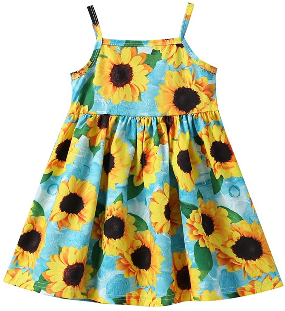 Toddler Baby Girls Summer Dress Outfit Strap Sunflower Print Tutu Skirt Sunsuit Beachwear Clothes Set