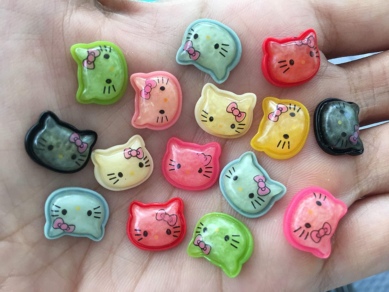 30pcs Hello Kitty Cat Bow Flat Back Cabochons Kitten Meow Animals Decoden Flat Back Button F785