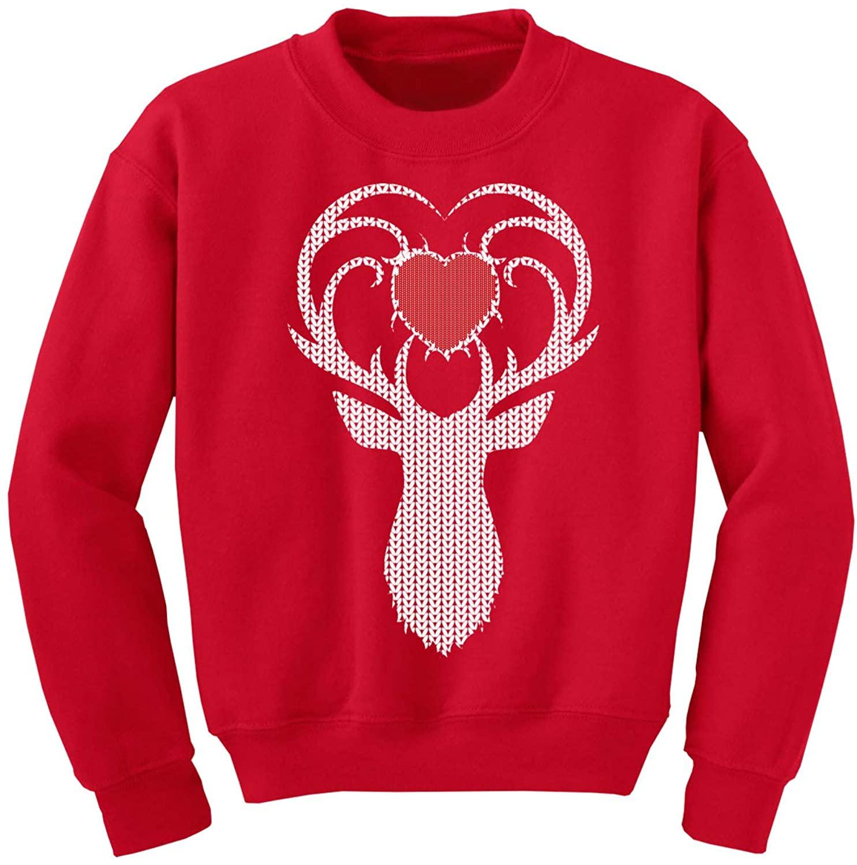 Awkward Styles Ugly Christmas Sweater for Boys Girls Kids Youth White Deer Xmas Heart Sweatshirt