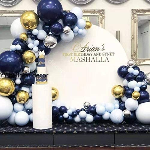 Navy Blue balloons and Macaran Blue Balloons146Pcs, 18in/12in Balloon Arch & Garland Kit, Balloon Strip Tape for Graduation, Wedding, Birthday Décor