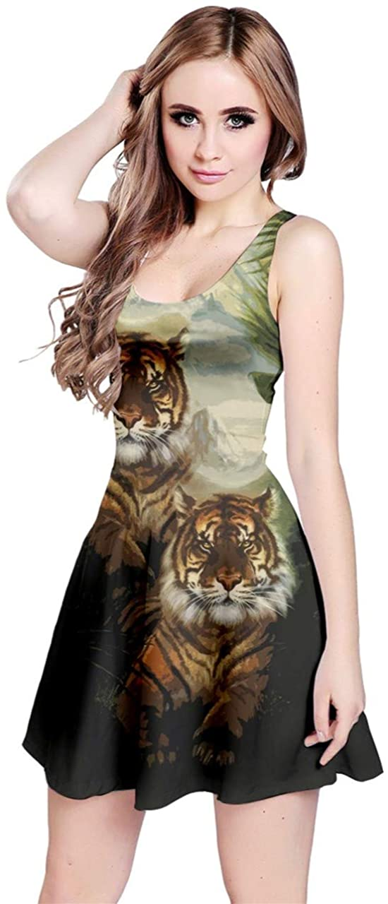 CowCow Womens Python Snake Crocodile Zebra Giraffe Leopard Tiger Leather Scales Animal Skin Sleeveless Dress, XS-5XL