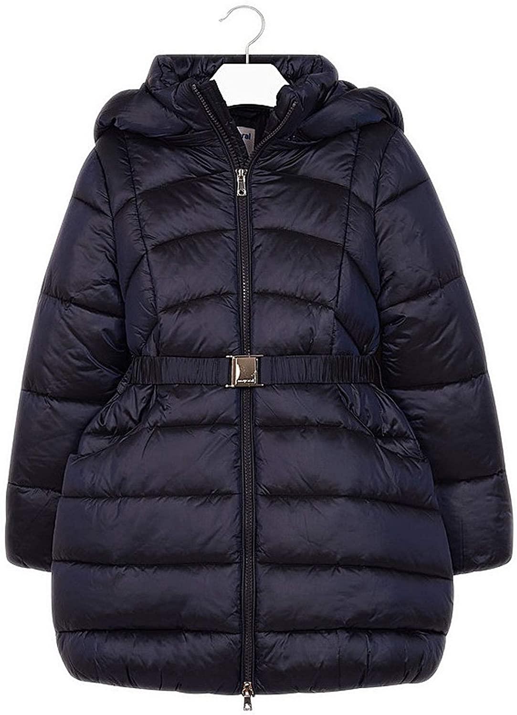 Mayoral - Belted Long Coat for Girls - 7419, Navy