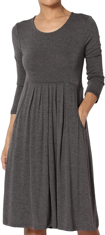 TheMogan Womens & Plus 3/4 Sleeve High Waist Pleated Stretch Jersey Midi Dress