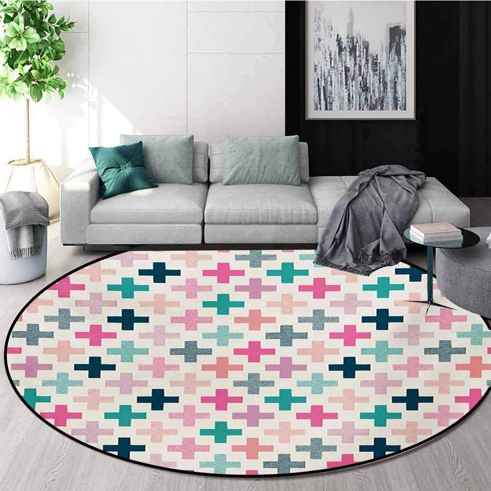 RUGSMAT Teal and White Modern Machine Washable Round Bath Mat,Colorful Cross Shapes Dotted Design Hipster Feminine Girls Fun Art Graphic Non-Slip Soft Floor Mat Home Decor,Round-59 Inch
