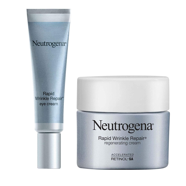 Neutrogena Rapid Wrinkle Repair Anti-Wrinkle Retinol Under Eye Cream for Dark Circles, 0.5 fl. oz and Neutrogena Rapid Wrinkle Repair Retinol Regenerating Anti-Aging Face Cream & Retinol, 1.7 oz