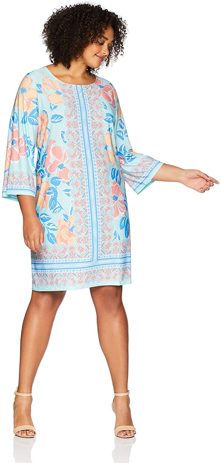 Ruby Rd. Womens Plus-Size Boat-Neck Printed Knit Dress