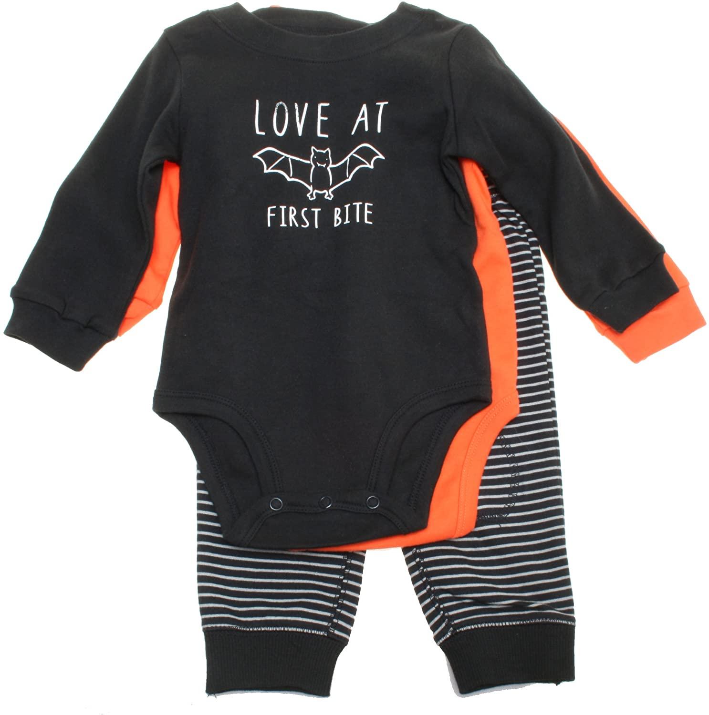 Carter's Unisex 3-Piece Pants Set; Love at First Bite Bodysuit, Pumpkin Bodysuit & Striped Black Pants (3M)