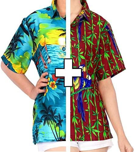 LA LEELA Women's Beach Hawaiian Shirt Regular Fit Short Sleeve Shirt XL Work from Home Clothes Women Blouse Pack of 2