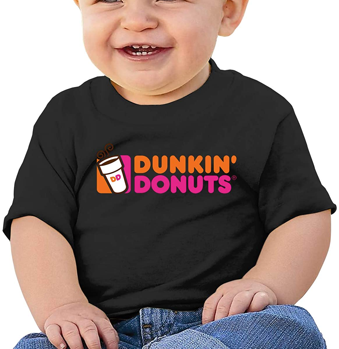 Dunkin Donuts Comfortable and Breathable Skin-Friendly Baby Short-Sleeved T-Shirt Black