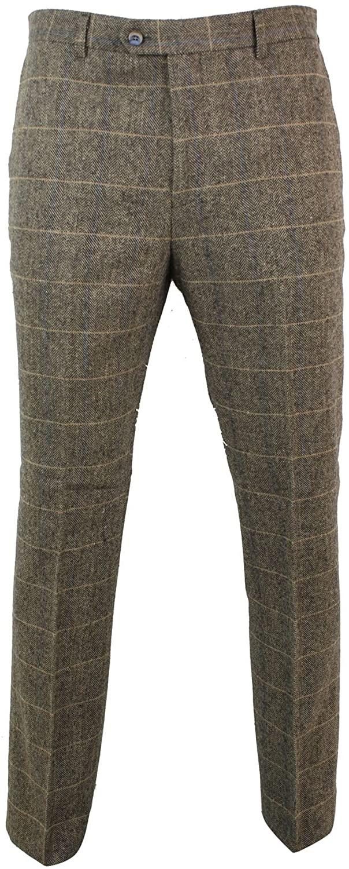 CAVANI Mens Herringbone Tweed Vintage Retro Check Wool Trousers Peaky Blinders Classic Navy Blue