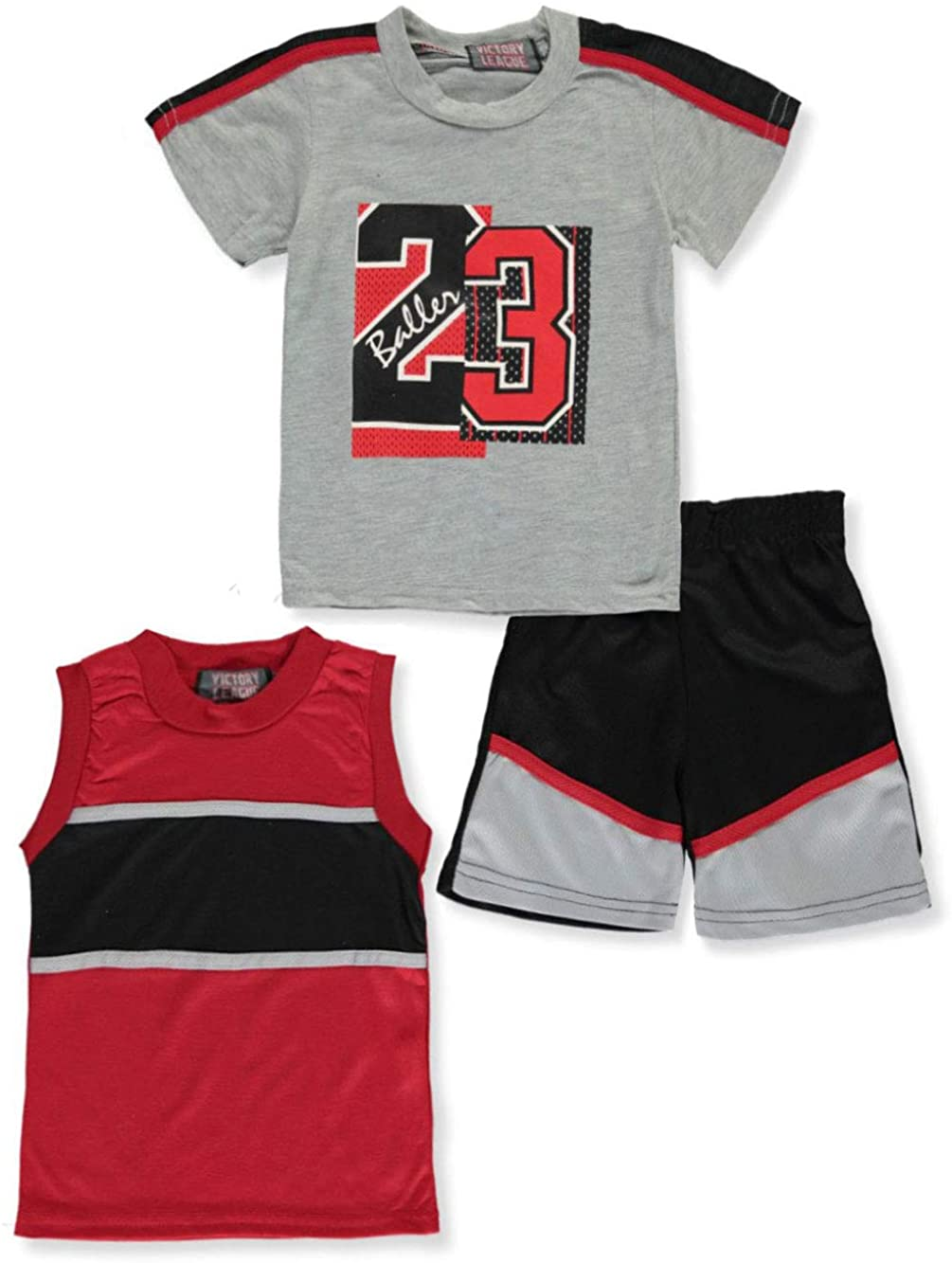 Victory League Baby Boys' Baller 3-Piece Shorts Set Outfit - Gray Multi, 12
