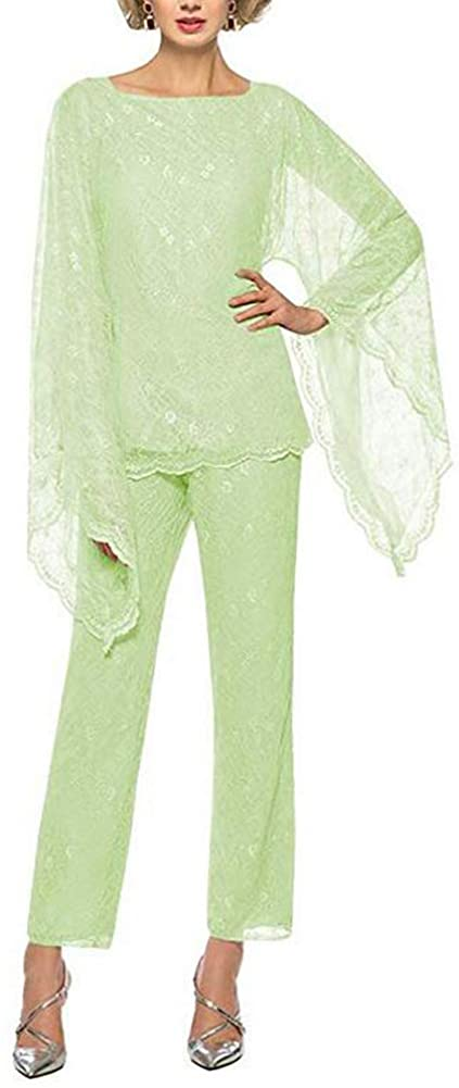 Women's Mint Formal Mother of The Bride Dress Pant Suits 3 Pieces Chiffon Lace Outfit for Wedding Grooms Plus Size US10