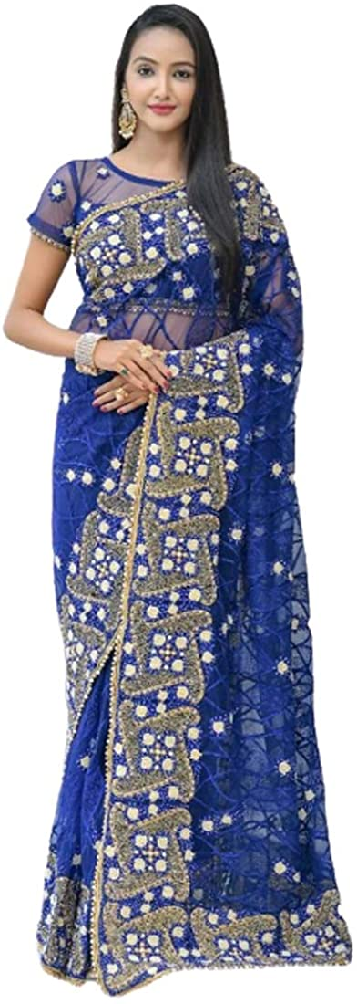 Royal Blue Festival Eid Party Wear Heavy Embroidery Net Indian Saree Sari Blouse Muslim Dress 9858B