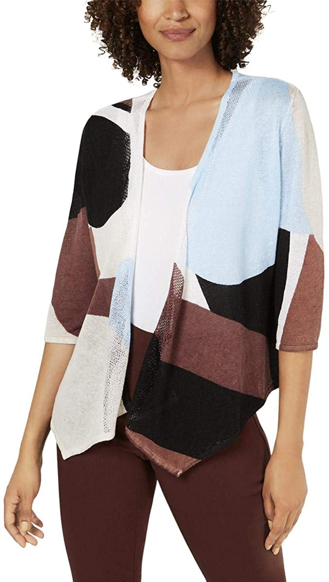Alfani Womens Colorblock Layering Cardigan Sweater