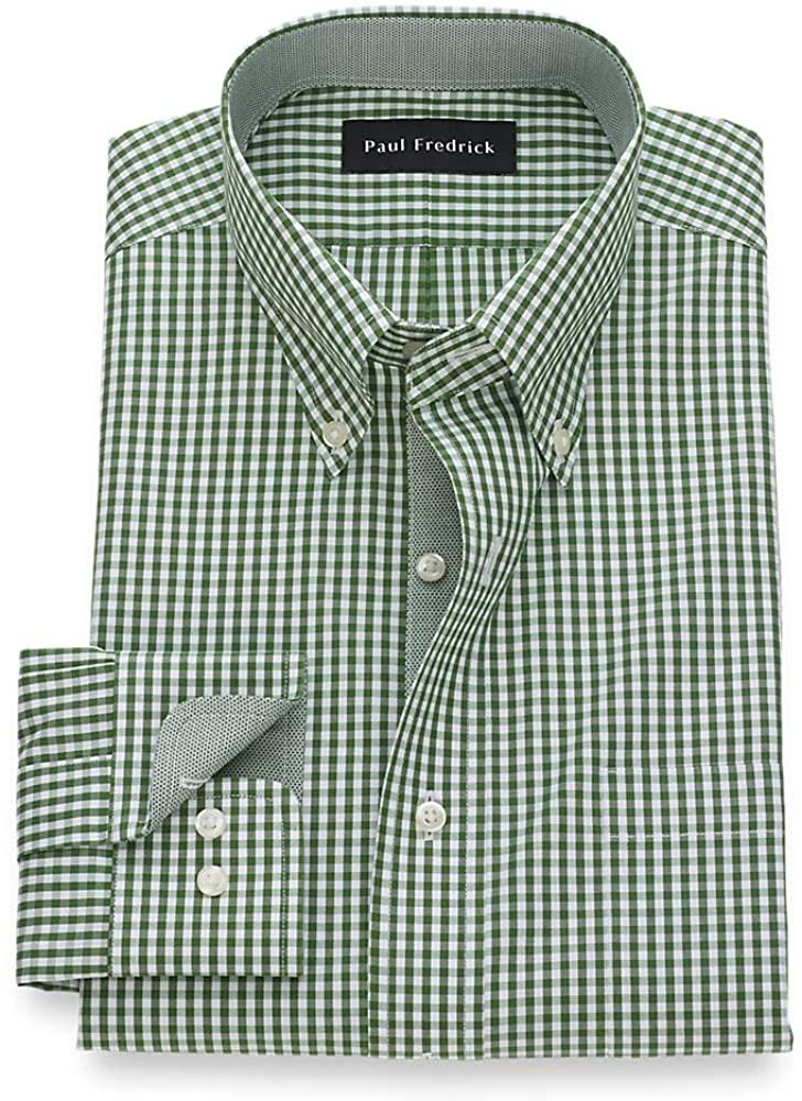 Paul Fredrick Men's Tailored Fit Non-Iron Cotton Pinpoint Gingham Dress Shirt