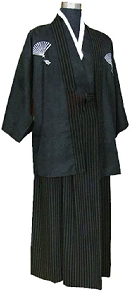 CRB Mens Boys Japanese Traditional Samurai Men Kimono Warrior Robe Outfit Costume… (Adult Small, Black)