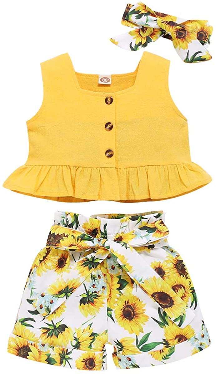 Toddler Baby Girl Sunflower Clothes Sleeveless Ruffle Crop Top + Short Pants with Headband 3PCS Summer Outfit Set