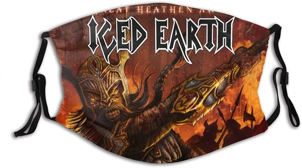 Iced Earth Adult Dust Face Cover Washable Reusable Mouth Guard with Activated Carbon Filter