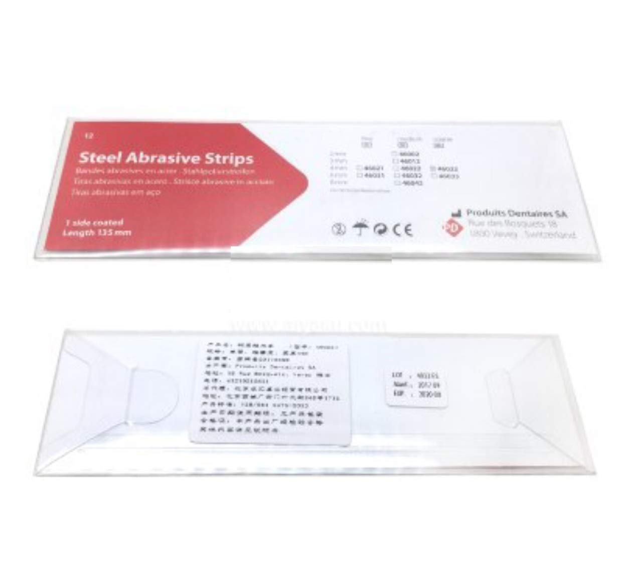 Dental PD Steel Abrasive Strips 1 side coated length 135mm coarse 4mm 46023#
