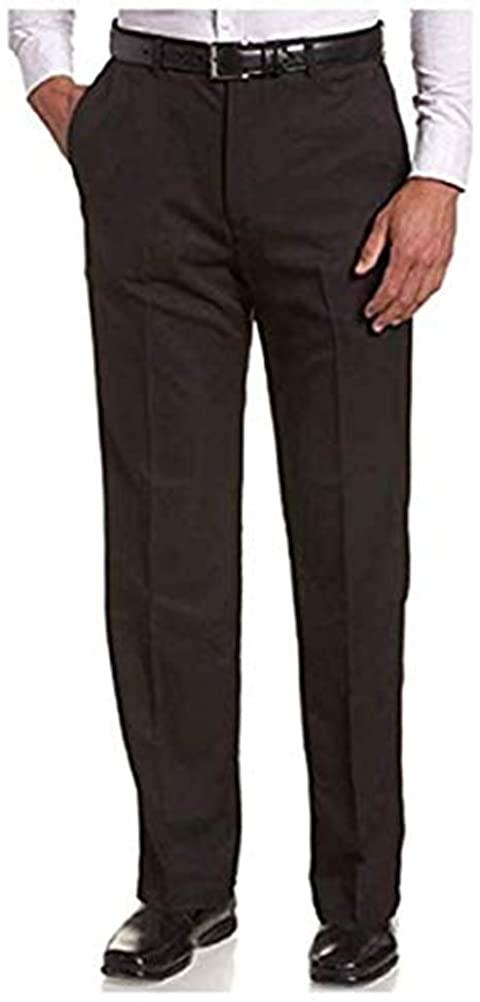 Haggar Men's Classic Fit Premium Non-Iron Pant Hidden Comfort Waist (Midnight, 32x32)