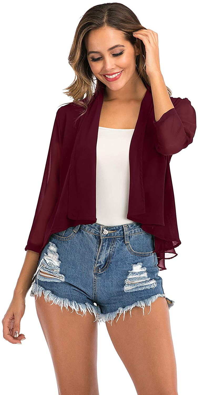 Womens 3/4 Sleeve Chiffon Cardigan Light Casual Open Front Shrug Bolero Blazer