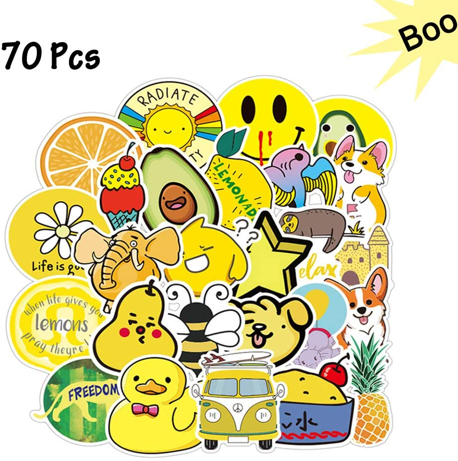 Greatstar 70Pcs Cute Stickers VSCO Stickers Packs Yellow Cartoon Stickers Funny Stick Packs for Water Bottle Laptop Trunk DIY Notebook Diary