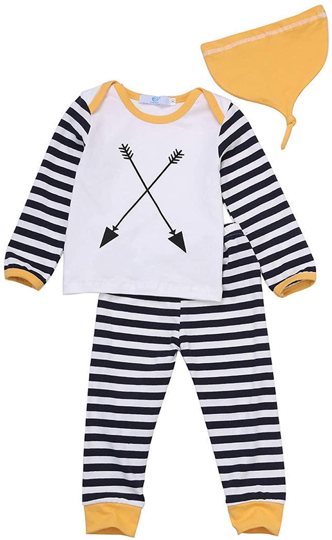 Lyilepu 3 Pcs Newborn Toddler Baby Boys Girls Outfits Arrow Stripe Print Long Sleeve Top +Pants+Hat Jumpsuits