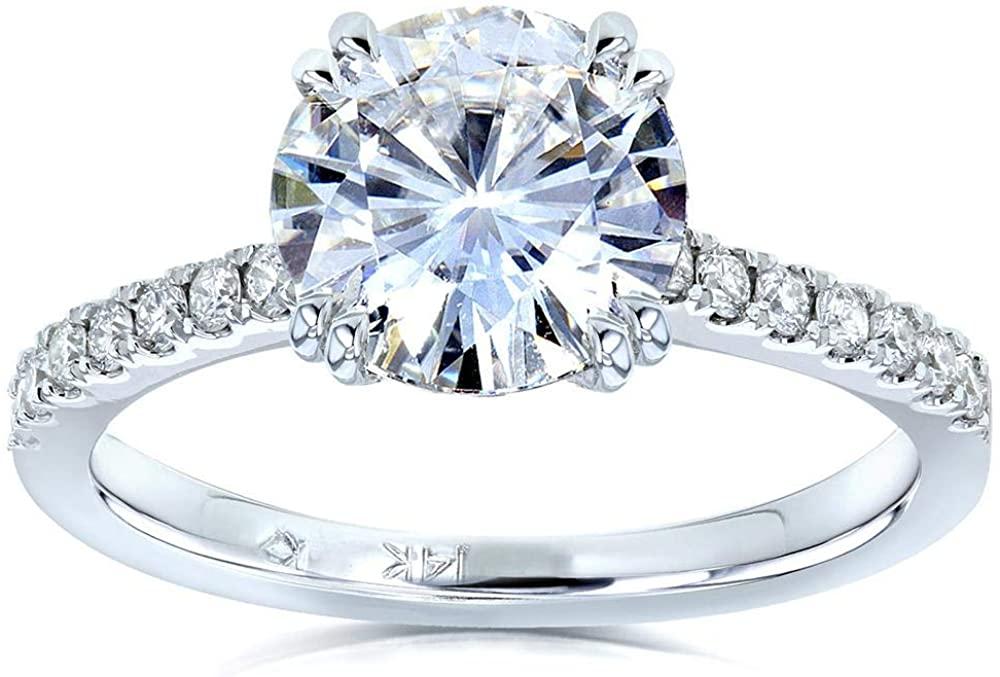 Kobelli Moissanite and Lab Grown Diamond Engagement Ring 2 1/10 CTW 14k White Gold (FG/VS, DEF/VS), 6