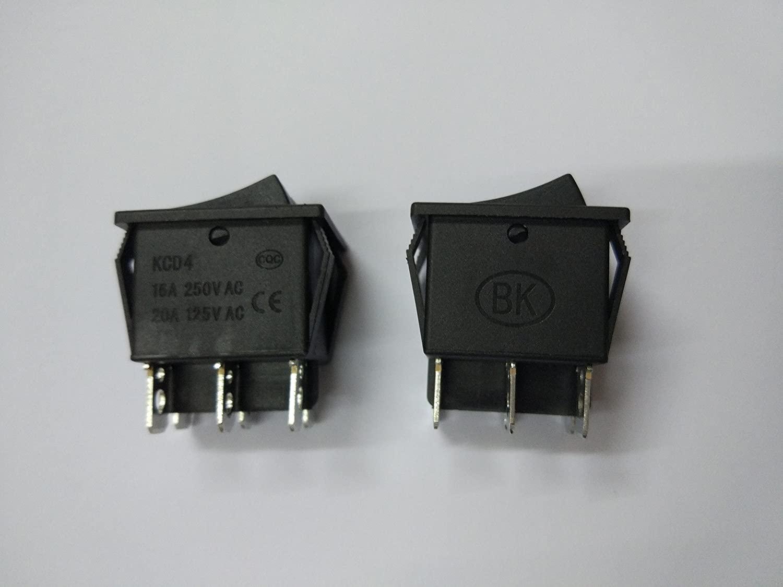 30 Pcs Rocker Switch KCD3 Black Terminal 6pin 15A 250V 20A 125V Skywalking