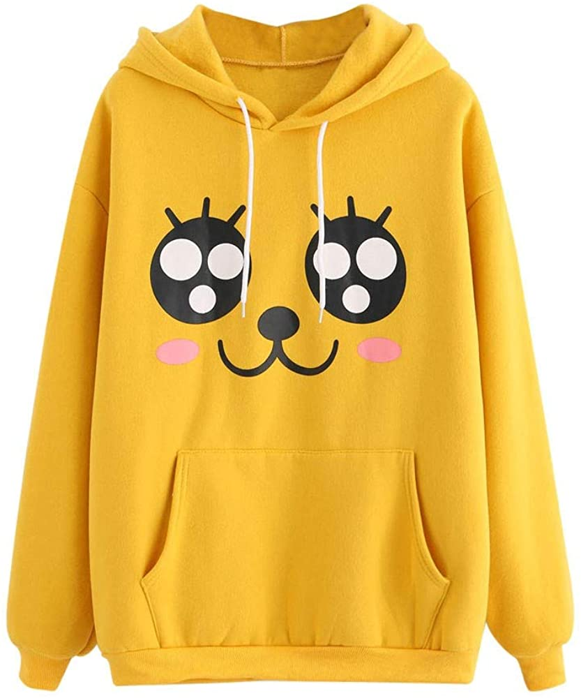 Girls' Hoodie, Misaky Cute Cartoon Print Pocket Long Sleeve Drawstring Hooded Pullover Sweatshirt Blouse Tops
