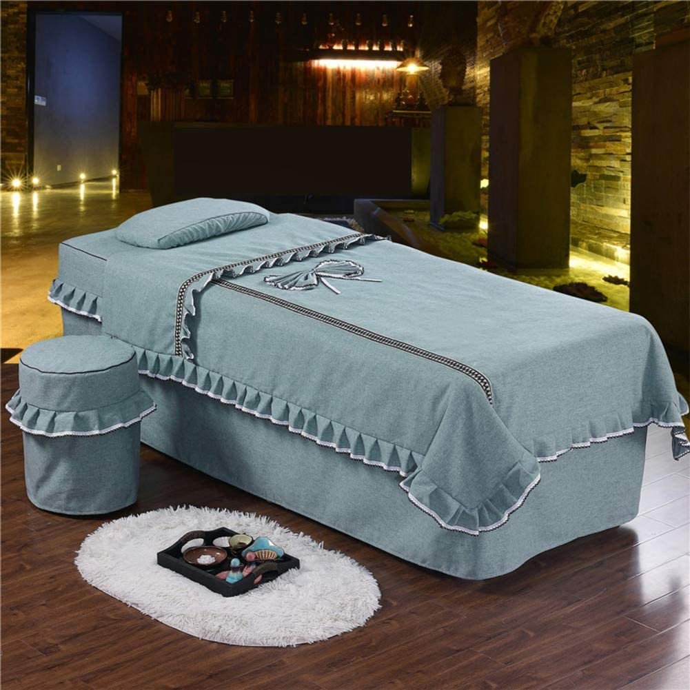 ynh Solid Color Massage Table Sheet 4-Piece,Skin-Friendly Soft Cotton Beauty Bed Cover Simple Physiotherapy Bedding Table Skirt -a 190x80cm(75x31inch)