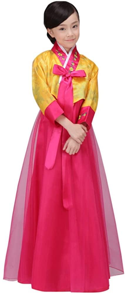 CRB Fashion Girls Traditional Kids Korean Hanbok Outfit Dress Costume (110cm, Yellow)