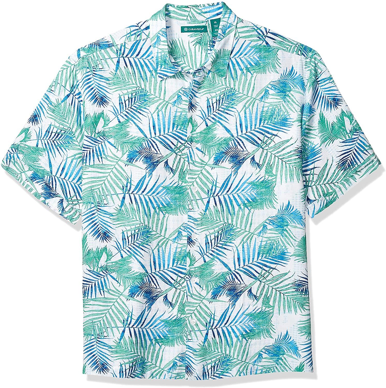 Cubavera Men's Geometric Palm Print Shirt