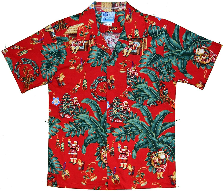 RJC Made in USA Boy's Thinking About Hawaiian Christmas Aloha Shirt