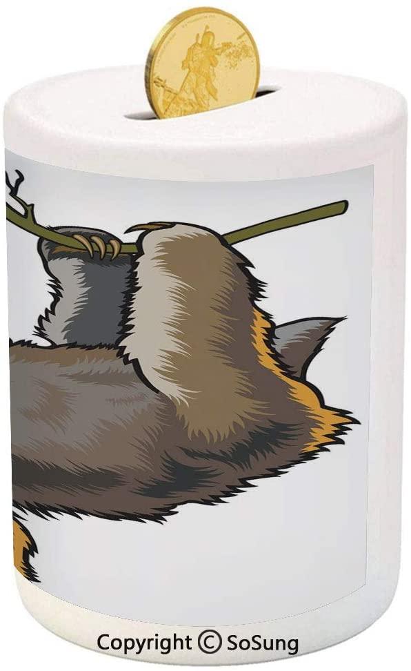 Animal Decor Ceramic Piggy Bank,Cartoon Like Sloth Bear Tropic Wild Cute Lazy Sleepy Creature Australian Theme Art 3D Printed Ceramic Coin Bank Money Box for Kids & Adults,Grey