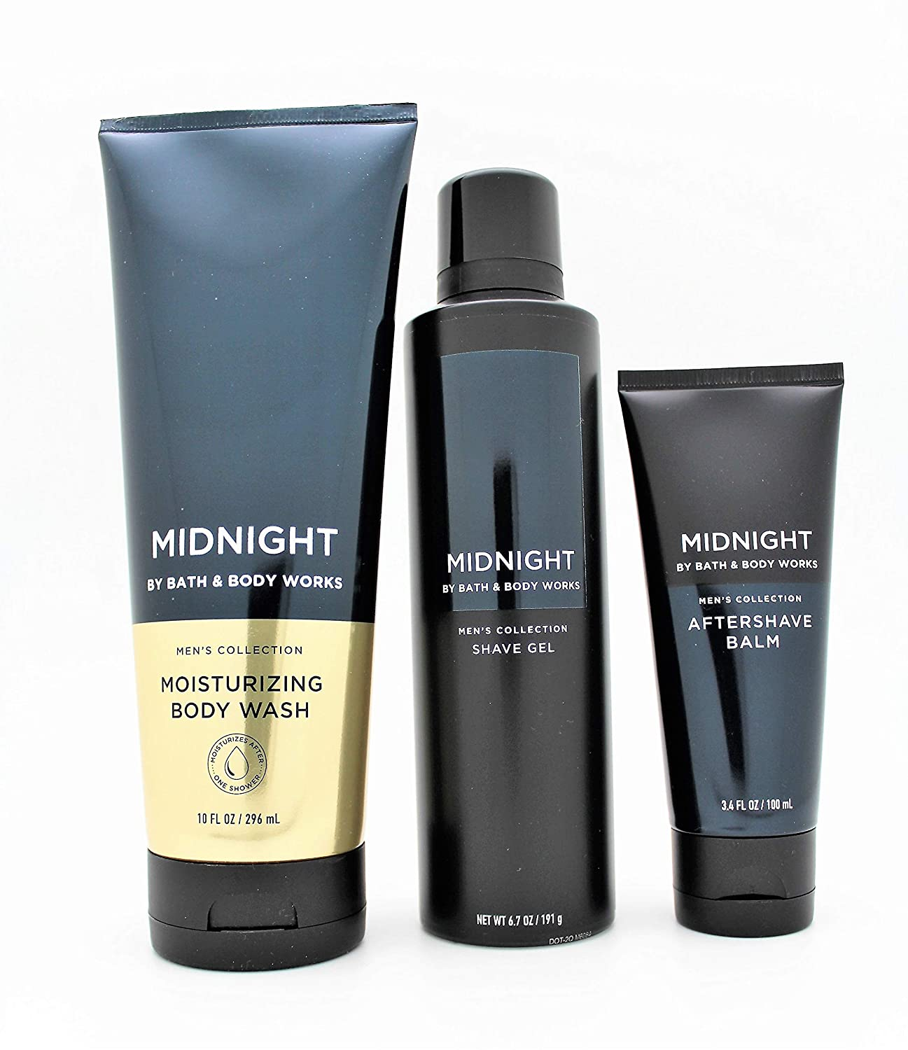 Bath and Body Works - Men's Collection – Midnight - Moisturizing Body Wash, Shave Gel and Aftershave Balm - 3 pc Bundle