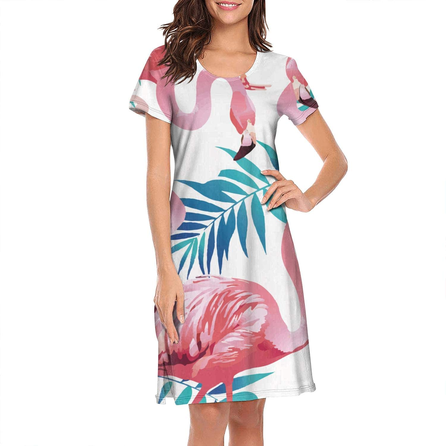 Tropical Flamingo Lilies Colorful Nightgown Print Pajamas for Women's O-Neck