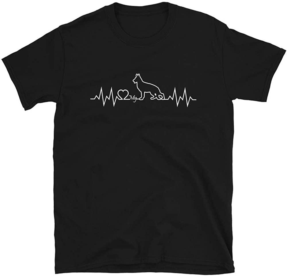 German Shepherd Heartbeat Short-Sleeve Unisex T-Shirt