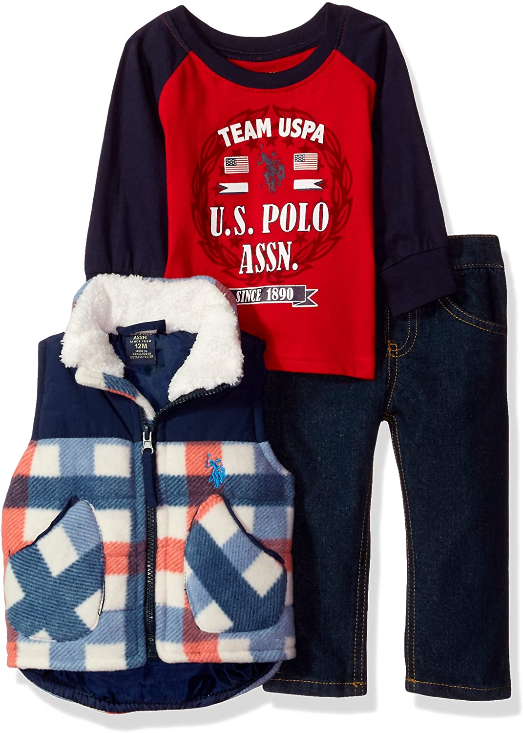 U.S. Polo Assn. Baby Boys' Vest, T-Shirt and Pant Set