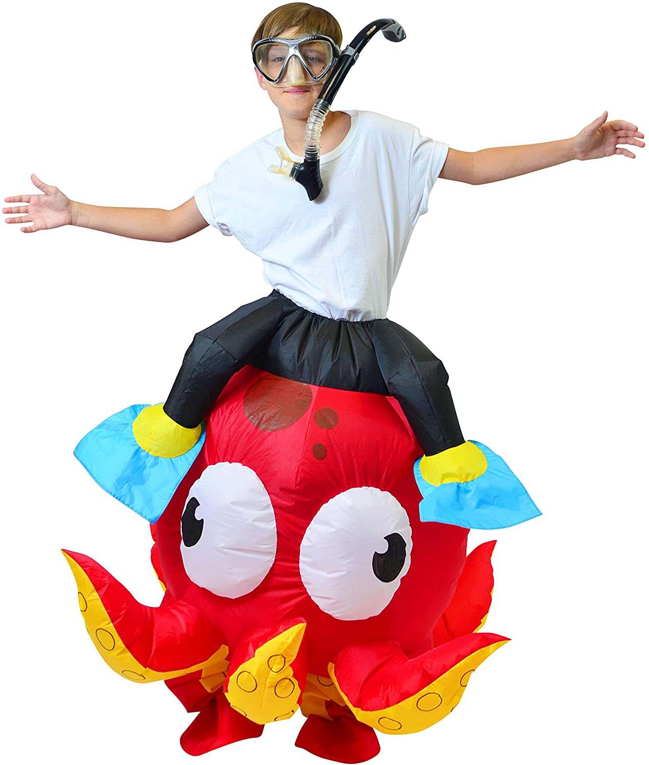 Spooktacular Creations Inflatable Costume Riding an Octopus Air Blow-up Deluxe Costume - Child Size Fits 5-12yr (45