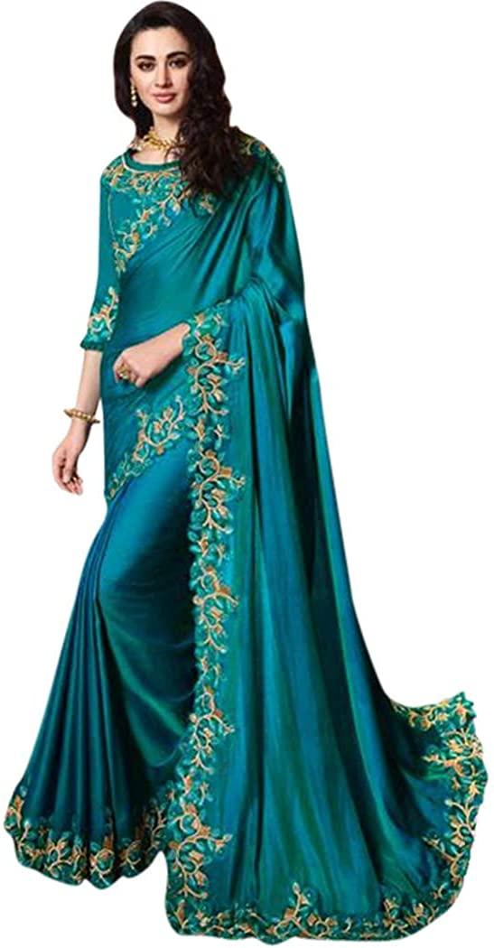 INMONARCH Teal Blue Satin Silk Partywear Embroidered Saree SLKI6202